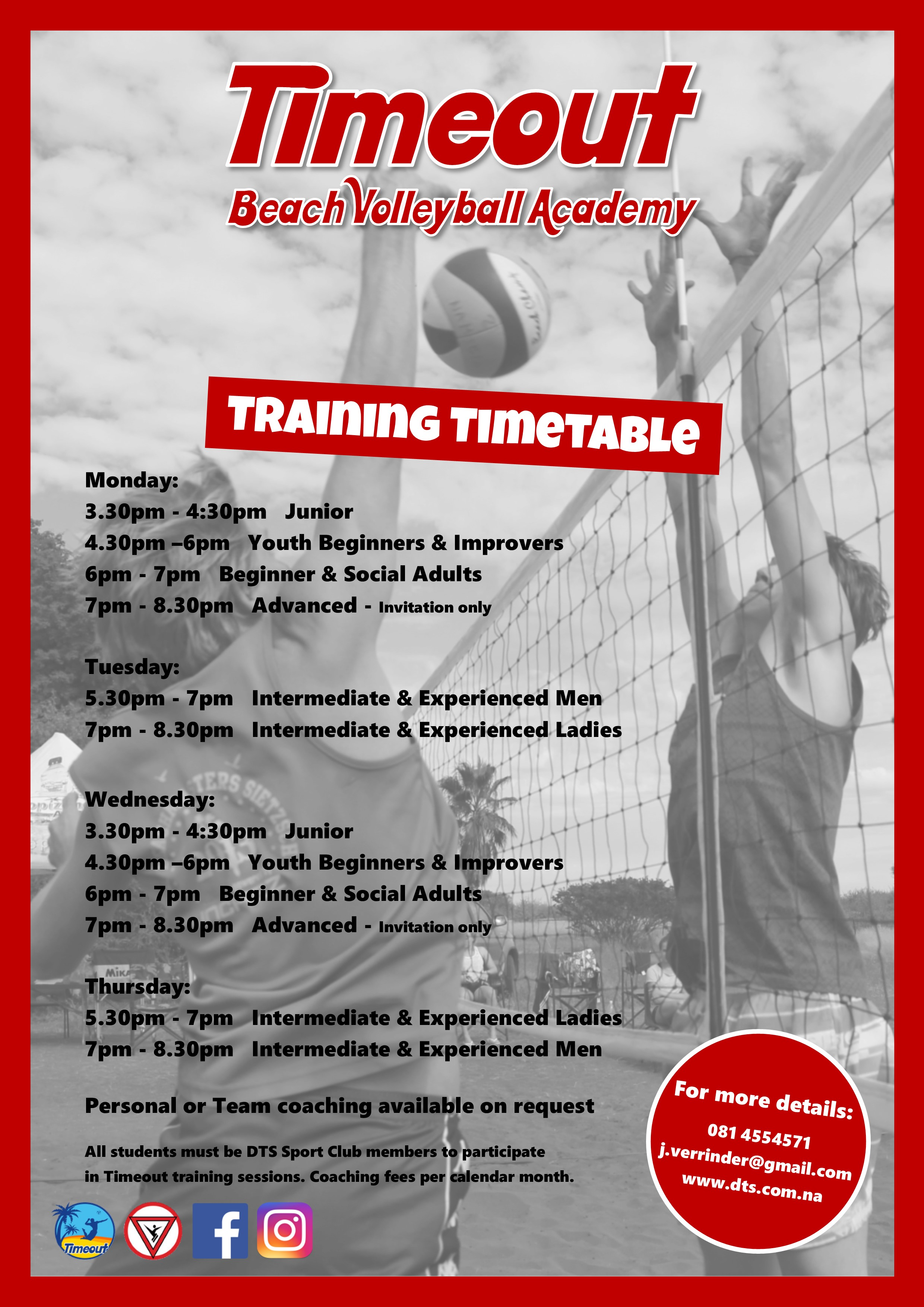 Timeout Coaching Timetable 2018